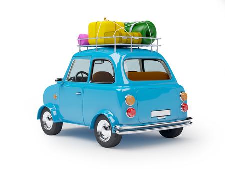 pequeño y lindo viaje en coche azul retro, habida cuenta atrás con el equipaje en el fondo blanco Foto de archivo