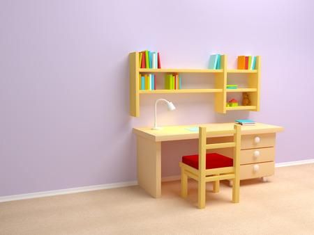 School child room  Desk with lamp and book shelves