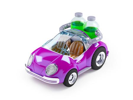 purple car: Purple car run on soda water isolated on white
