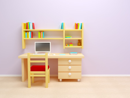 3d kids: School child room  Desk with PC and book shelves  Stock Photo