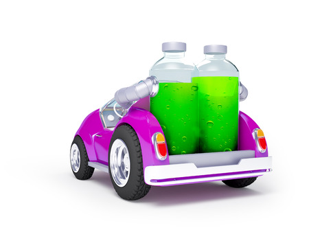 purple car: Purple car back run on soda water isolated on white Stock Photo