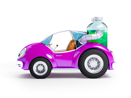 purple car: Purple car run on soda water isolated on white