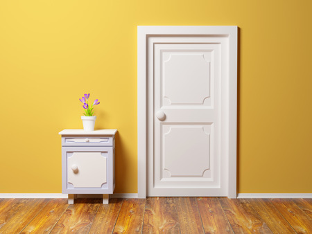 bedroom wall: classic nightstand with flower at the wall and door