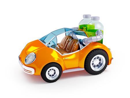 exotic car: Orange car run on soda water isolated on white