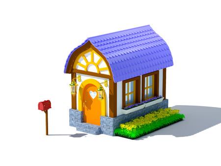 Cute cartoon 3d house in a fairy tale style photo