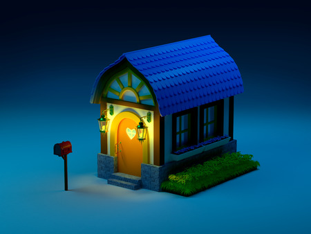 Cute cartoon 3d house in a fairy tale style at night photo