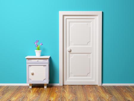 klassieke nachtkastje met bloem op de muur en deur Stockfoto