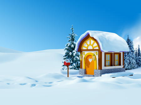 Cute cartoon 3d house with spruces, winter landscape photo