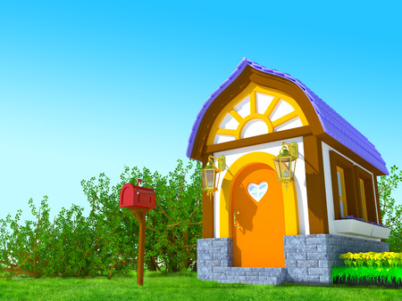 Cute cartoon 3d house in a fairy tale style in the forest photo