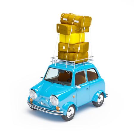klein en schattig blauw retro reis auto op witte achtergrond