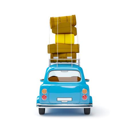 klein und niedlich blauen Retro Reise Auto, Rückansicht mit Gepäck auf weißem Hintergrund Standard-Bild