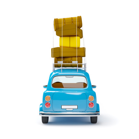 obsolete: small and cute blue retro travel car, back view with luggage on white background Stock Photo
