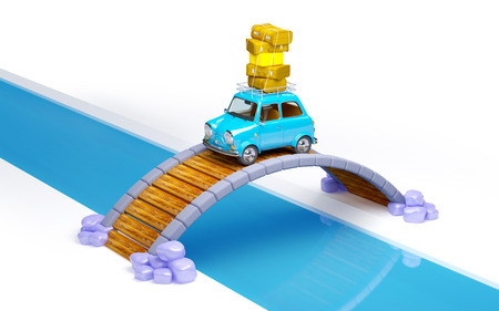 kleine retro reis auto op de brug isoleted op wit Stockfoto