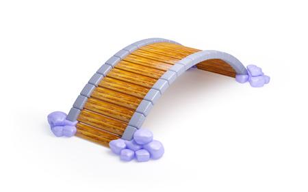 cartoon houten brug met stenen geïsoleerd op wit Stockfoto