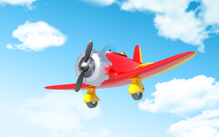 airplane world: red vintage cartoon aircraft in cloudy sky