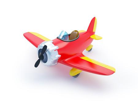 Aviones de la historieta de la vendimia rojo aislado en blanco Foto de archivo - 34483393