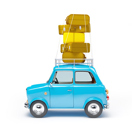 car side view: small and cute blue retro travel car, side view with luggage on white background Stock Photo