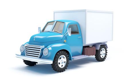 Vintage camión de reparto de edad aislados en blanco Foto de archivo - 34691779