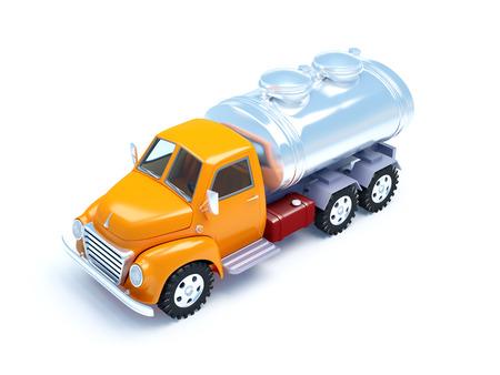 retro truck: cartoon 3d tanker truck isolated on white