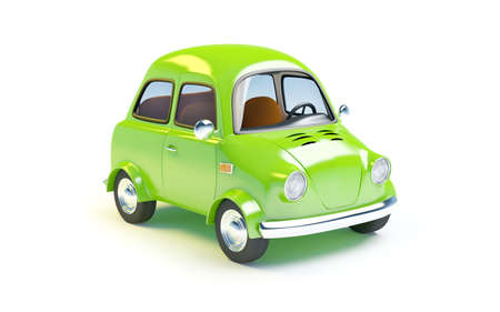 3d small person: small retro car  isolated on a white background