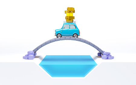 small retro travel car on bridge isoleted on white, side view photo