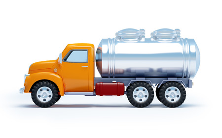 cartoon 3d tanker truck isolated on white. Side view. Stock Photo