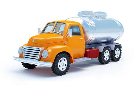 camión cisterna: dibujos animados 3D camión cisterna aislada en blanco