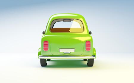 kleine retro auto op een witte achtergrond. Terug te bekijken Stockfoto