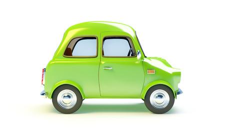 kleine retro auto geïsoleerd op een witte achtergrond. Zijaanzicht