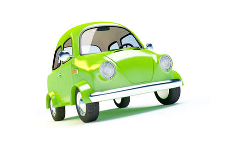cartoon transportation: small retro car  isolated on a white background