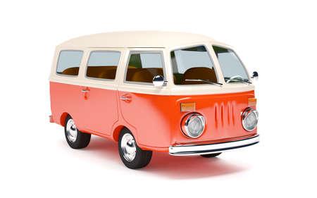hippies: retro travel van in cartoon style isolated on white