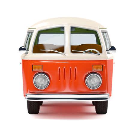 cargo van: retro travel van in cartoon style