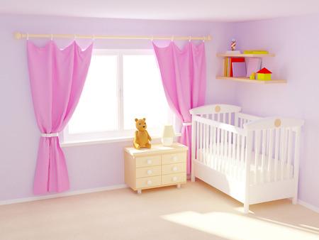 Babys slaapkamer met commode en beer. Pastel kleuren, lege ruimte