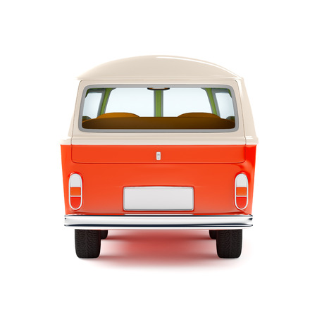 retro travel van in cartoon style, back view, isolated on white Banco de Imagens - 36623600