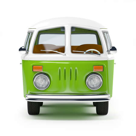 classic car: retro travel van in cartoon style, front view, isolated on white Stock Photo