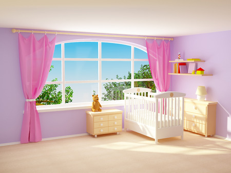 Babys bedroom with big window, commode and bear. Pastel colors. Stock Photo