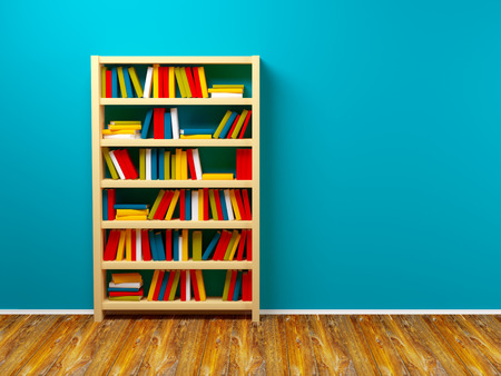 bookcase: bookcase against the blue wall. 3d illustration Stock Photo
