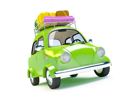 family trip: small and cute green retro trip car on white background