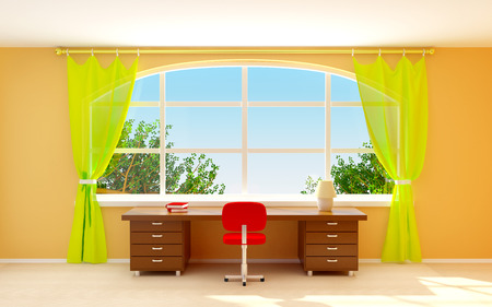 Interior of director office with big half-round window. Cartoon style photo