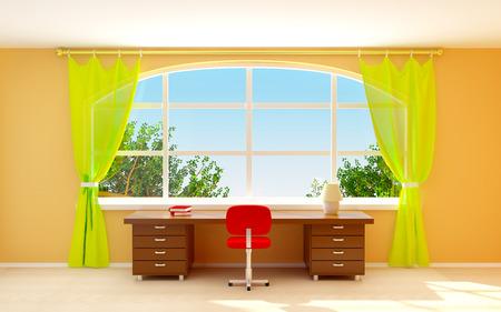 comfort classroom: Interior of director office with big half-round window. Cartoon style Stock Photo