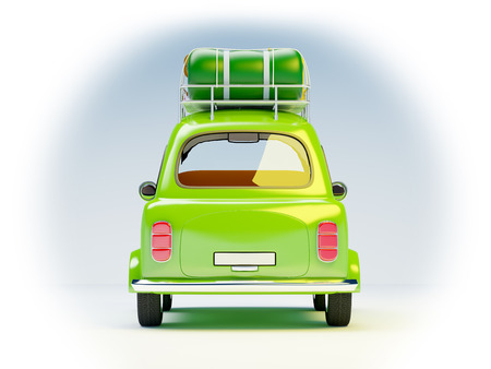 small and cute green retro trip car on white background. Back view photo