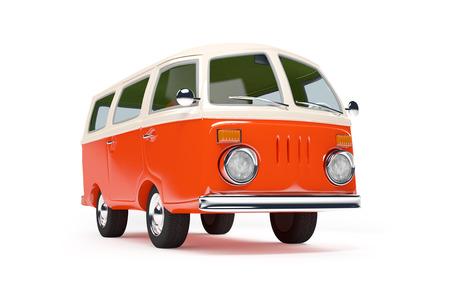 passenger buses: van viaje retro en estilo de dibujos animados aislado en blanco