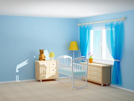 Babys slaapkamer met een wieg, commode en beer. Lege ruimte, 3d illustratie. Stockfoto
