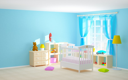 Babys slaapkamer met een wieg, planken met speelgoed, commode en beer. 3D-afbeelding.