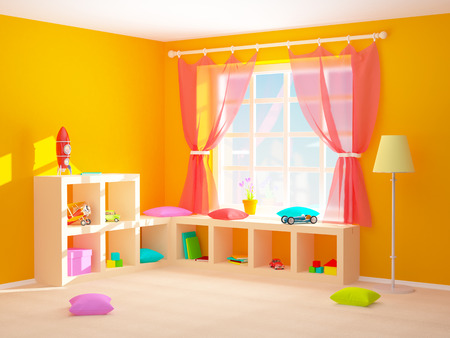 Babys kamer met planken met speelgoed. 3D-afbeelding.