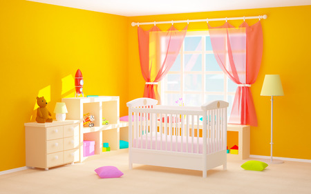 bedroom wall: Babys bedroom with crib, shelves with toys, commode and bear. 3d illustration.