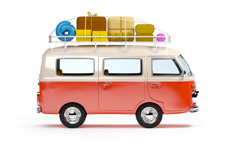 minivan: retro travel van in cartoon style with luggage isolated on white Stock Photo
