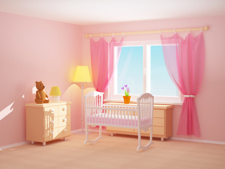Babys bedroom with cradle, commode and bear. Empty room, 3d illustration.