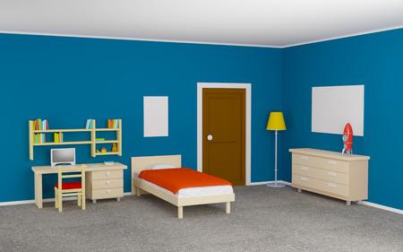 tiener kamer met een bed en een studie bureau. 3d illustratie