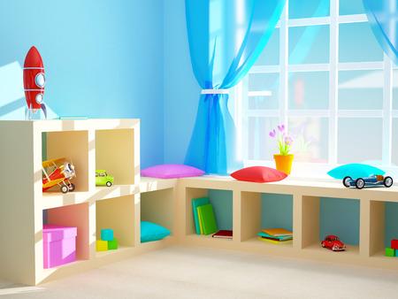 Babys room with shelves with toys. 3d illustration. Standard-Bild